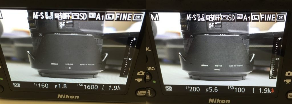 Left: Metering on right of LCD indicates underexposure. Right: Metering on right of LCD indicates proper exposure.