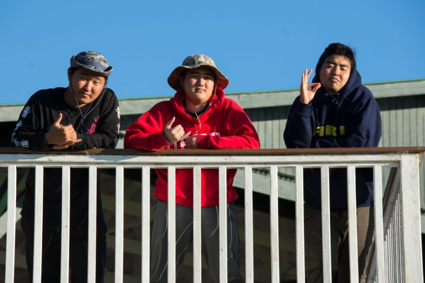 (L-R) Seniors DJ Sur, Tucker Miller and Ty Minatoya at Kahua Ranch. Photograph by Ryan Su ('17)