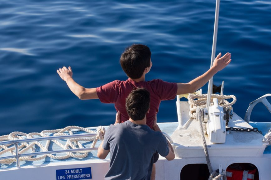 "Seniors re-enacting a famous scene from the movie ""Titanic."" Photograph by Ryan Su ('17)"